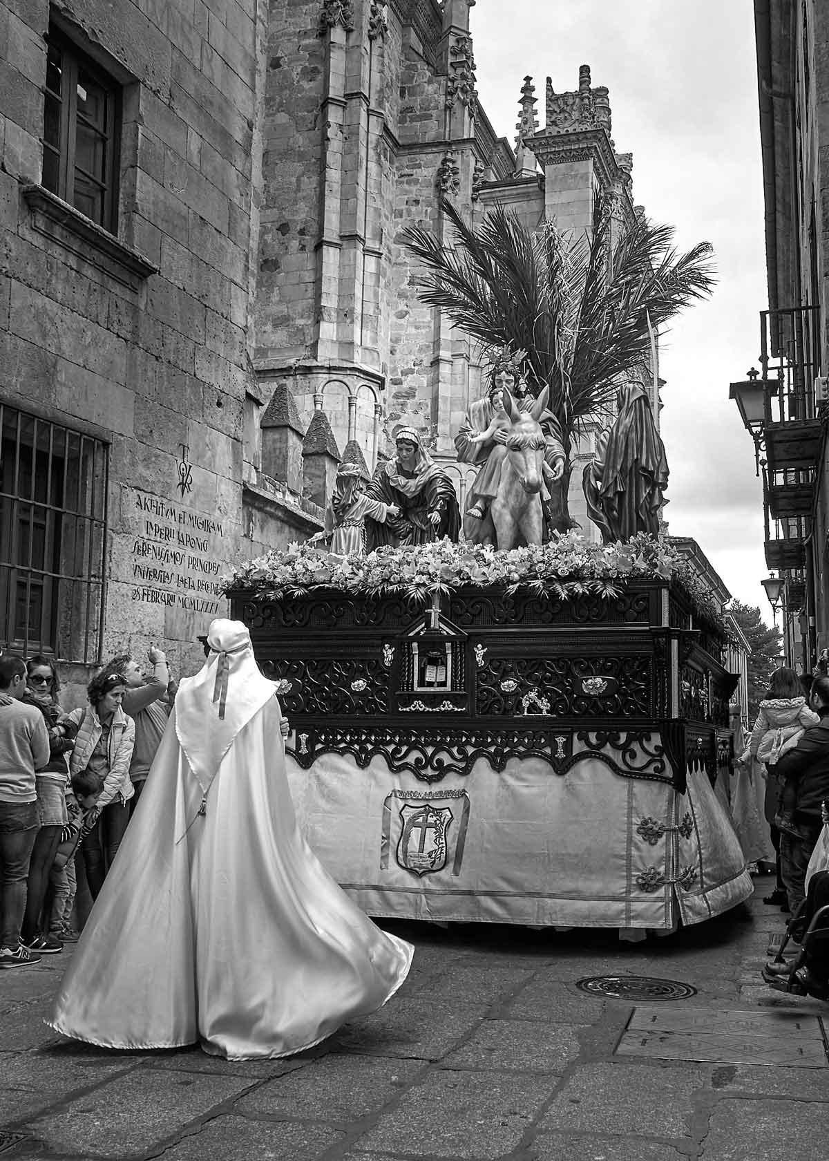 Cofrade en procesión de la Borriquita Salamanca